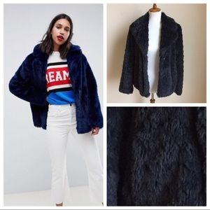 NWOT navy faux fur fuzzy teddy bear jacket, S